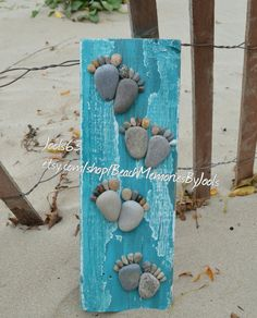 Driftwood art, pebble art, rock footprints,  rock footsteps,  stone footprints,  stone footsteps,  footstep board, footprint board, reclaimed wood art, beach decor, rock art, stone art, etsy, etsy shop
