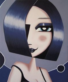 """From the artwork series """"girlfriends"""". Playful oil paintings, illustrations of women by artist Jeff Lyons. Original abstract modern painting of a woman. Lyon, Pop Art, Paintings I Love, Oil Paintings, Cuadros Diy, Abstract Faces, Portrait Art, Woman Portrait, Female Portrait"""