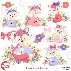 Fox clipart Cute foxes clipart Fox love clipart mother and
