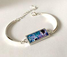Bracelet cabochon rectangulaire, tons turquoise et mauve, métal argenté ou bronze, ajustable. de la boutique Thisliacreations sur Etsy