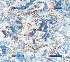 Sella Ronda - The Sella Ronda is the ski tour through the ski resorts Val Gardena, Alta Badia, Arabba and Val di Fassa in the Dolomites (Dolomiti Superski) Ski Europe, Places In Europe, Ski Holidays, Italy Holidays, Sella Ronda, Ski Touring, Ski Jumping, Best Skis, Country Maps