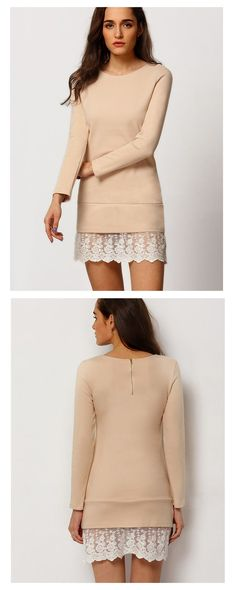 Street Fashion : Love this with short boots, Apricot Long Sleeve With Lace Dress from shein.com