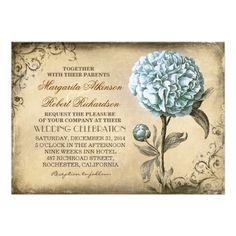 vintage rustic wedding invitation with blue peony