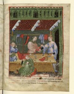 Nouvelle acquisition latine 1673, fol. 95, Marchand de vêtements de soie. Tacuinum sanitatis, Milano or Pavie (Italy), 1390-1400.