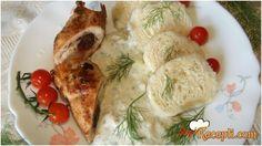 Recept za Punjene rolnice u sosu sa češkim hlebom-knedliky. Za spremanje ovog jela neophodno je pripremiti belo meso, šunka, kačkavalj, suve šljive, maslinovo ulje, pivo, vodu, kvasac.