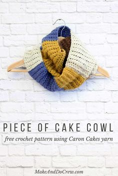 """This easy, modern cowl is going to become your go-to accessory for fall and winter! Plus, this Caron Cakes Yarn free crochet pattern is simple to make even if you're not an experienced pattern-reader. Simple one-skein crochet project! Caron Cakes color """"Blue Icing."""""""