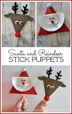 Santa & reindeer stick puppets. Such a cute craft idea for the holidays. Your kids can make them and then out on a Christmas show!