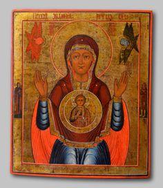"""Icone Russe """"mère De Dieu Du Signe"""", XIXe Siècle - Proantic.com"""