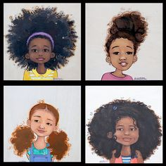 Natural Girls Illustration I love these! More power to the crazy hair! #curlgirl