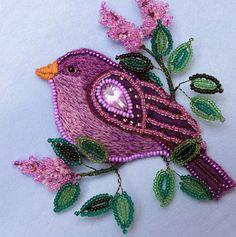 Felt Brooch Purple Bird Jewelry embroidered by UniversesSwirls - beautiful mix of techniques