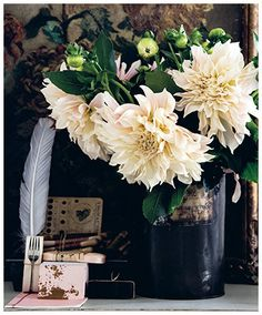 """""""Dahlias are low maintenance and bloom prolifically from late June to at least October. They come in all shapes and sizes, and in a large variety of colours."""""""