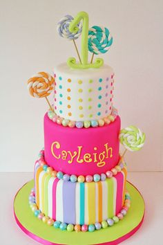 Candy Cane #Cake with #Rainbow dots - three tiered #Celebration cake colourful stripes, bold colours! Great #CakeDecorating We love and had to share!