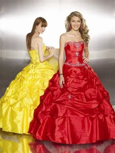 love these colors together.. maybe yellow bridesmaid dresses with red belt, or vice versa!