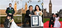 Photos: World's shortest couple officially crowned by Guinness World Records in London.   Paulo Gabriel da Silva Barros and Katyucia Hoshino were officially crowned the world's shortest couple in London Friday. The duo both hails from Brazil and have been verified at a combined height of 181.41 cm (71.42 in) becoming world record holders of shortest marries couple back in September after tying the knot.  The couple who were measured by the officials of Guinness World Records In central…