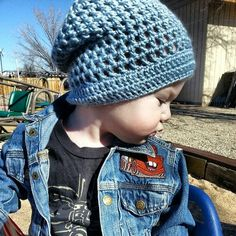 My Favorite Slouchy Hat a crochet pattern by Danielle Day-Hines Oliver, my youngest son, at 1.