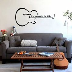 The Music Is Life Guitar Inspirational Vinyl Sticker Wall Art