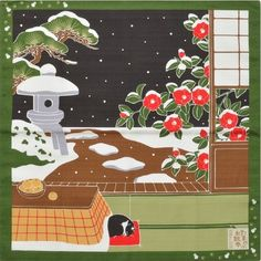 Japanese 12 Seasons in Kyoto Tama The Cat Furoshiki Scarf 'Tsubaki' Camellia - December