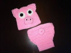 Piggie Hat & Diaper Cover Photo Prop by MustLoveHats on Etsy, $35.00