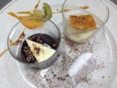 Caña borracha en Pedro Ximenez, helado de vainilla y AOVE en chocolate templado y torrija caramelizada sobre gachas y tostoncitos.