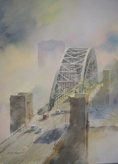 Watercolour painting of Newcastle Tyne Bridge, Fog on the Tyne