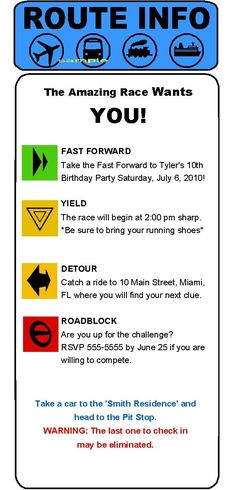 amazing race birthday party templates - free templates here for detour route info and road block