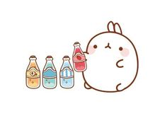 Molang with sodas Hamster Kawaii, Chibi Kawaii, Kawaii Doodles, Kawaii Art, Mode Kawaii, Kawaii Shop, Kawaii Drawings, Cute Drawings, Cute Images