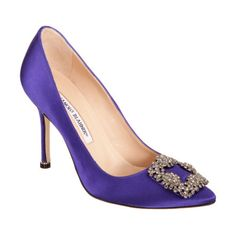 Manolo Blahnik Hangisi at Barneys.com. Satin pointed toe pump with jewel-embellished square buckle at toe.