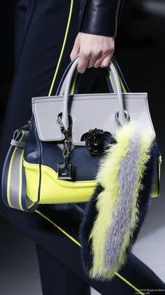Versace Fashion show Collection. Funky bag with grey, blue and neon yellow.