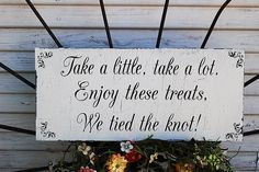 wedding signs   TREAT Table sign Wedding Signs Cottage Wedding Decorations 20x9
