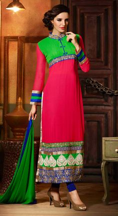 USD 56.68 Pink Georgette Pakistani Style Suit 48381