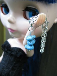 Turquoise Silver Doll Necklace for Blythe & Pullip Dal by finasma.