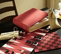 Book of Games Set #potterybarn games, books, gift, potteri barn, set potterybarn, chess, barns, pottery barn, game set