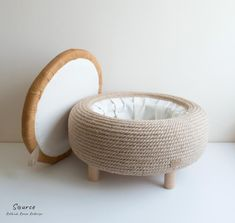 Upcycled Jute Rope Ottoman With Leather Lid – made from used car tire and leather jacket - Upcycle Projects 2020 Tire Furniture, Diy Furniture Decor, Garden Furniture, Jute, Diy Divan, Rope Crafts, Upcycled Home Decor, Decoration, Footrest