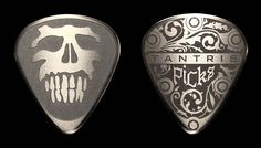 Etched Stainless Steel Guitar Pick Skull by Tantris Picks