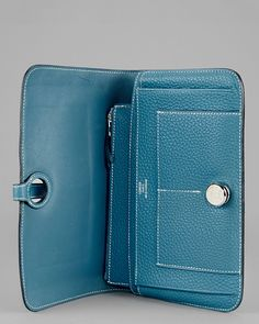 Hermes Blue Jean Taurillon Clemence Leather Dogon Wallet