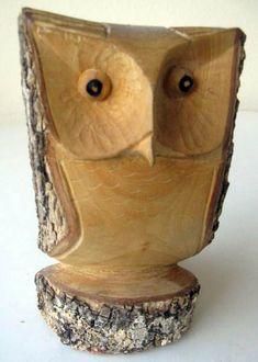 Carved owl Pinned by www.myowlbarn.com