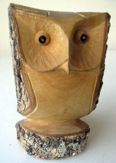 Carved owl Pinned by www.myowlbarn.com