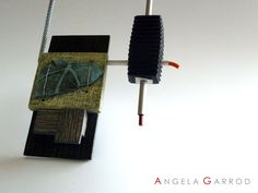 """ Paints Effect Collection ""  Necklace "" Balancing Act "" Close Up --------Polymer clay, Aluminium and Steel Wire"