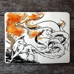 "23.5 mil curtidas, 285 comentários - Gabriel Picolo (@_picolo) no Instagram: "".: Nine Brushes Painter  #art #drawing #illustration #watercolor #mixedmedia #kitsune #fox #orange…"""