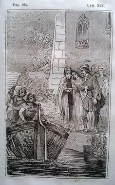 El Señor de Bembibre. Por Enrique Gil y Carrasco - (1844) Lámina XIX... - Si, si, tráeme mi vestido blanco, porque quiero pasearme por el lago. Estoy mejor, mucho mejor; y el dia me parece hermosísimo. Vos aquí tambien, don Alvaro! Y vos venerable padre! ...