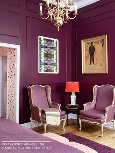Purple Colour Ideas: Mikado Suite, Grand Hotel - Bright Bazaar by Will Taylor Deco Violet, Deco Rose, Purple Rooms, Purple Walls, Room Colors, Wall Colors, Purple Interior, Best Paint Colors, Elegant Homes