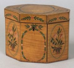 Tiger Maple Decorated Tea Caddy