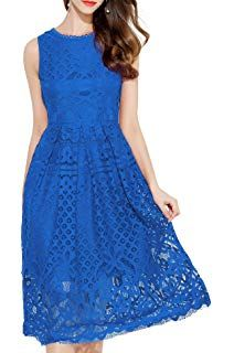 3988154bd5 VEIISAR Womens Fashion Sleeveless Lace Fit Flare Elegant Cocktail Party  Dress - best woman s fashion products designed to provide