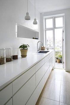 Modern minimalist white kitchen