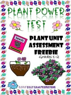 FREE Great Assessment for PLANT UNIT Grades 1-2 30 Questions Performance, Multiple Choice, Match-Up and Word Bank Style. Use with other PLANT POWER UNITS from Silly Sam Productions.