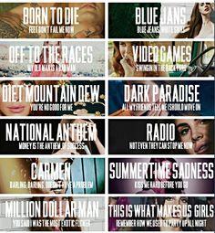 Lana Del Rey #LDR #lyrics (first line of each song off BTD album)