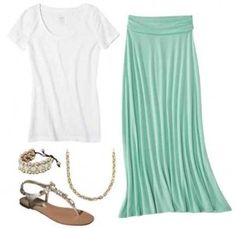 Awesome summer casual dress outfit! Mint maxi, plain white t-shirt, and sandals
