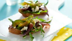Biltong with sweet figs and blue cheese on bruschetta [ NYBiltong.com ] #biltong #recipe #flavor