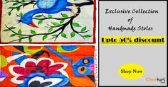 Buy pure silk Indian handpainted stoles, shawls and scarves
