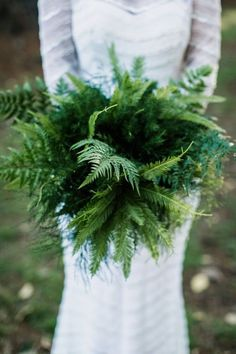 green fern wedding bouquet. #foliage #fern #bouquet